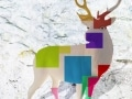 cerf   en resine design cube color 002