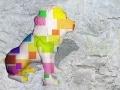 lion   en resine design cube color 008