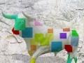 taureau   en resine design cube color 014