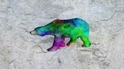 grand ours fleur   en resine design