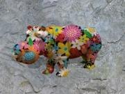 Hippo   en resine flower power