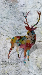 cerf   en resine flower power