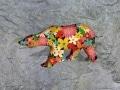 grand ours fleur   en resine flower power