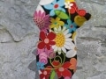 ours debout fleur   en resine flower power