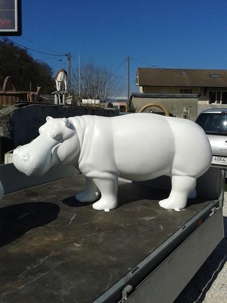 hippopotame en résine design 012