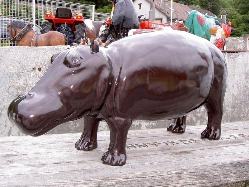 hippopotame en résine design 018