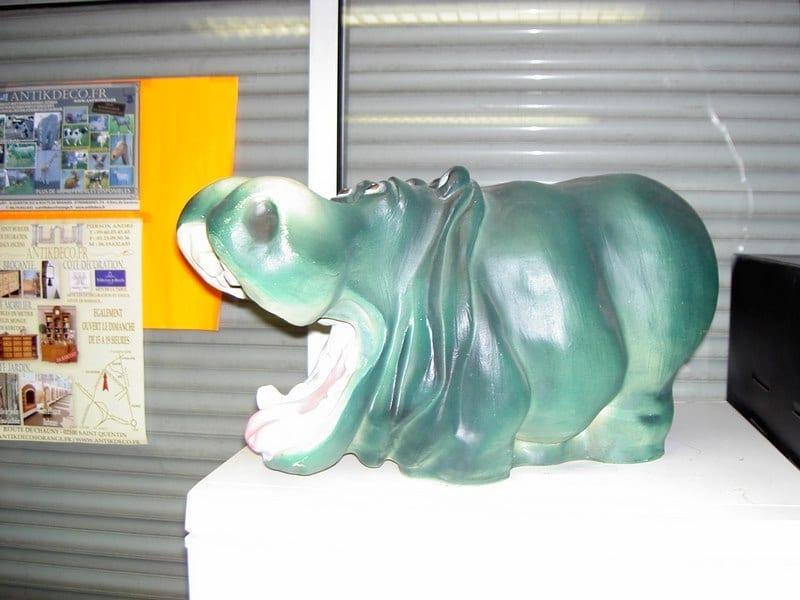 hippopotame en résine design 028