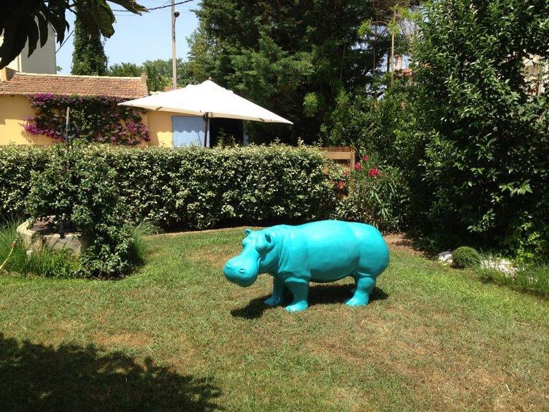 hippopotame en résine design  029