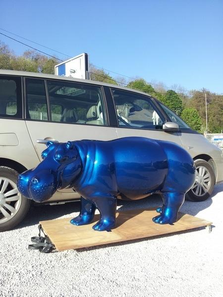 hippopotame en résine design 032