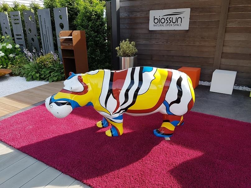 hippopotame en résine design flag 030