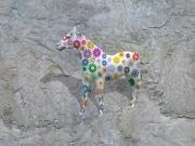 cheval fleur   en resine marguerite