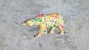 grand ours fleur   en resine marguerite