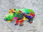 Hippo   en resine nuage miulticolor
