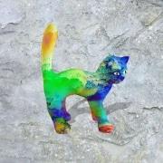 chat   en resine nuage miulticolor