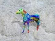 cheval fleur   en resine nuage miulticolor