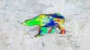 grand ours fleur   en resine nuage miulticolor