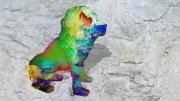 lion   en resine nuage miulticolor