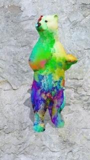 ours debout fleur   en resine nuage miulticolor