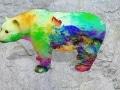 ours fleur   en resine nuage miulticolor