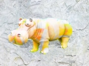 Hippo   en resine style saturation orange gris