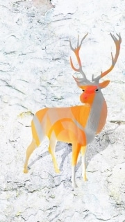 cerf   en resine style saturation orange gris