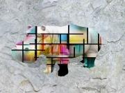 Hippo   en resine style  mondrian