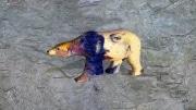 grand ours   en resine style visage