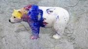 ours fleur   en resine style visage