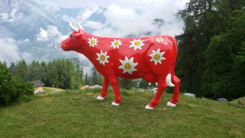 vache en résine FR26 edelwiess design 026