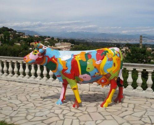 vache pop art en resine design